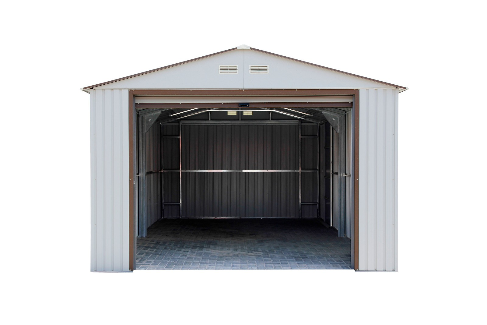 Duramax 55231 Metal Garage – 12' x 32' Metal Storage Shed  – Off White with Brown Trim