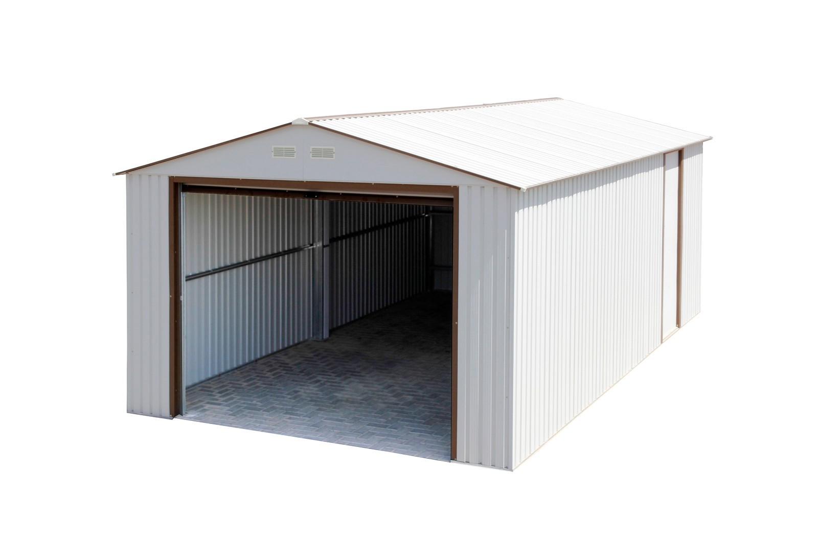 Duramax 55131 Metal Garage – 12' x 26' Metal Storage Shed – Off White with Brown Trim