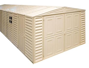 Duramax 01016 - WoodBridge Vinyl Garage 10.5'x15.5' Includes Foundation Kit
