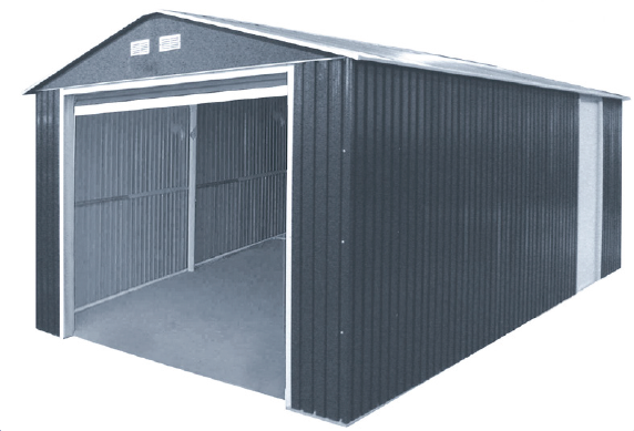 Duramax 55151 Metal Garage – 12'x26' Metal Storage Shed – Dark Gray with White Trim