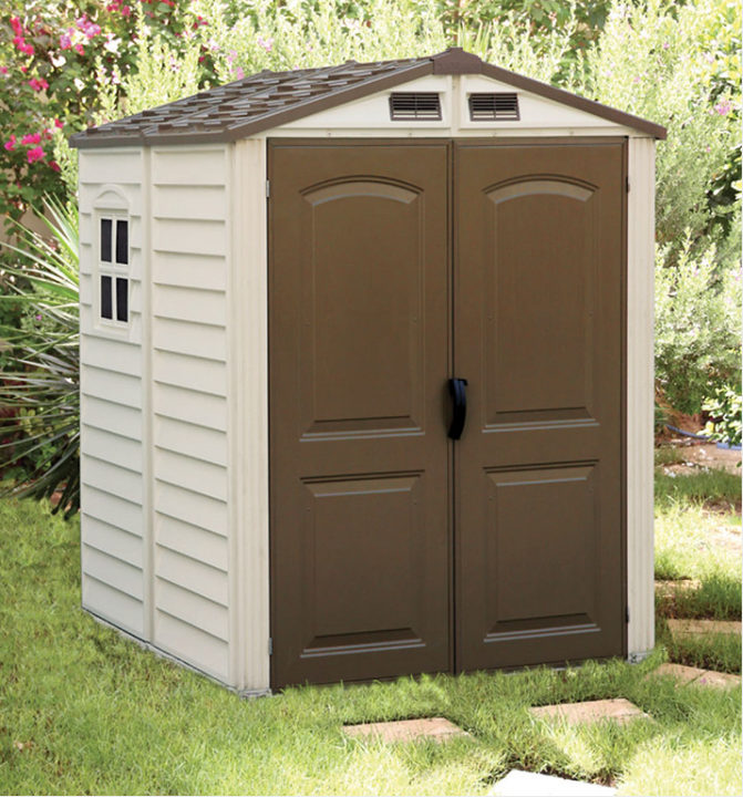 Duramax 30411 6x6 storemate vinyl shed floor is on for Garden shed 6x6