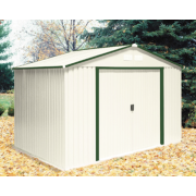 Duramax 50214 or 50212 10'x8' Del Mar Metal Shed - Green Trim & Foundation